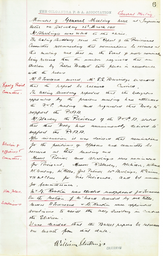 Meeting Minutes, 25 March 1911