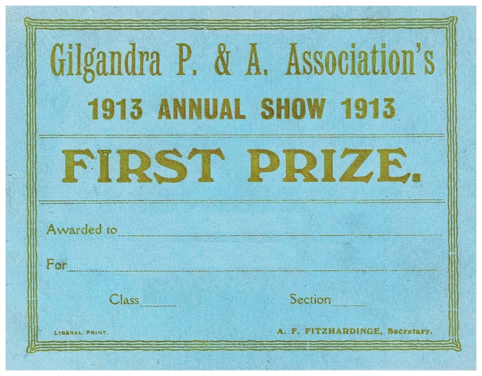 1913 First Prize Card