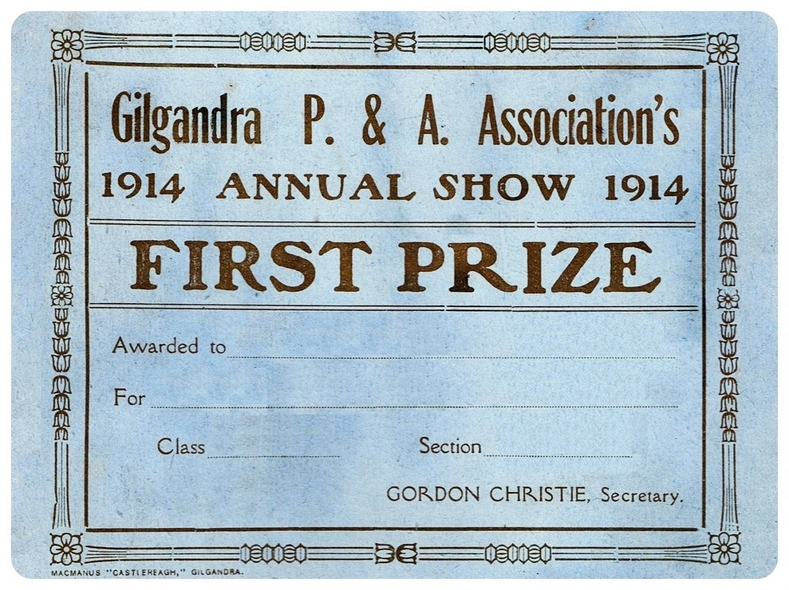 1914 First Prize Card