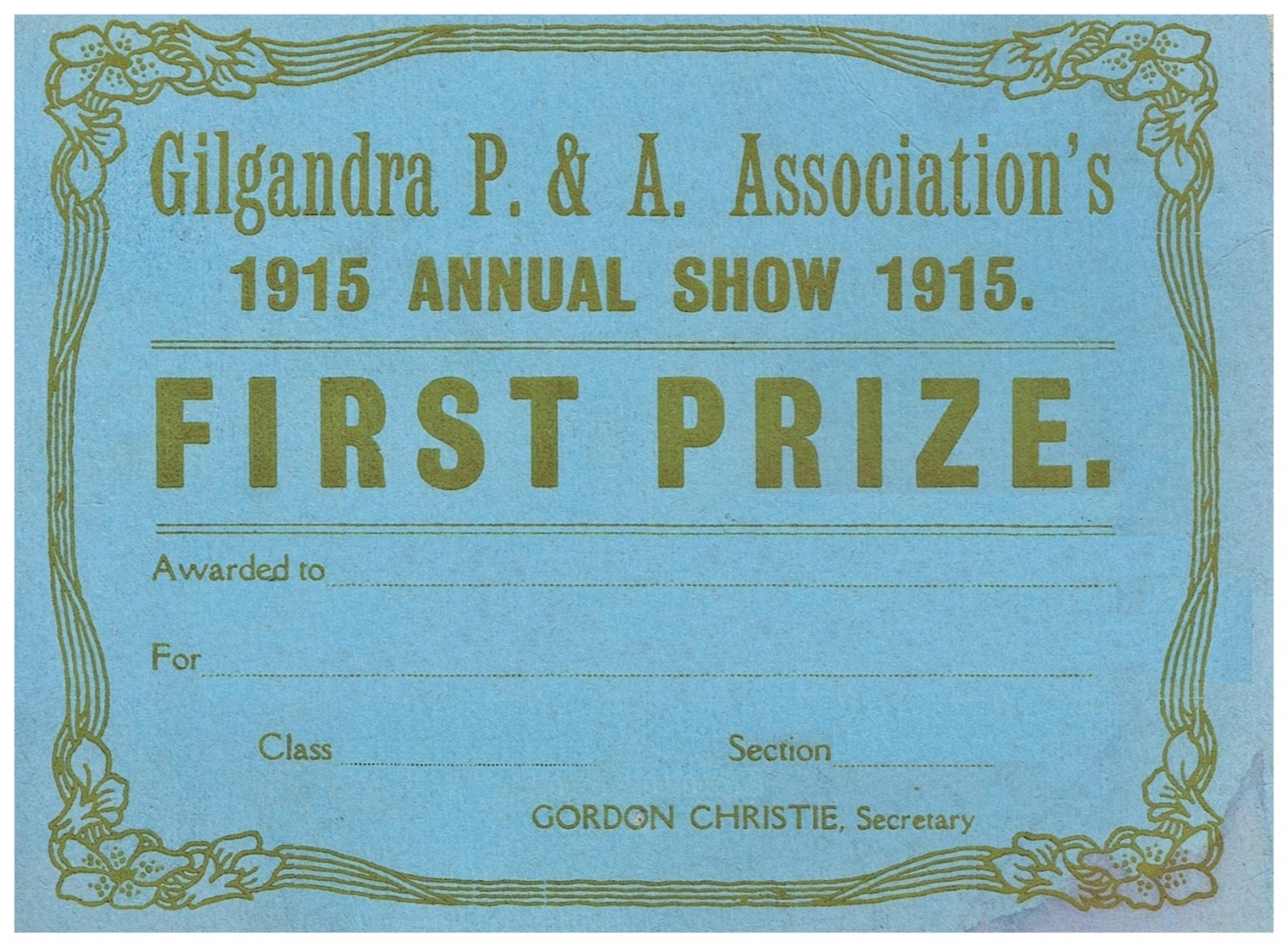 1915 First Prize Card