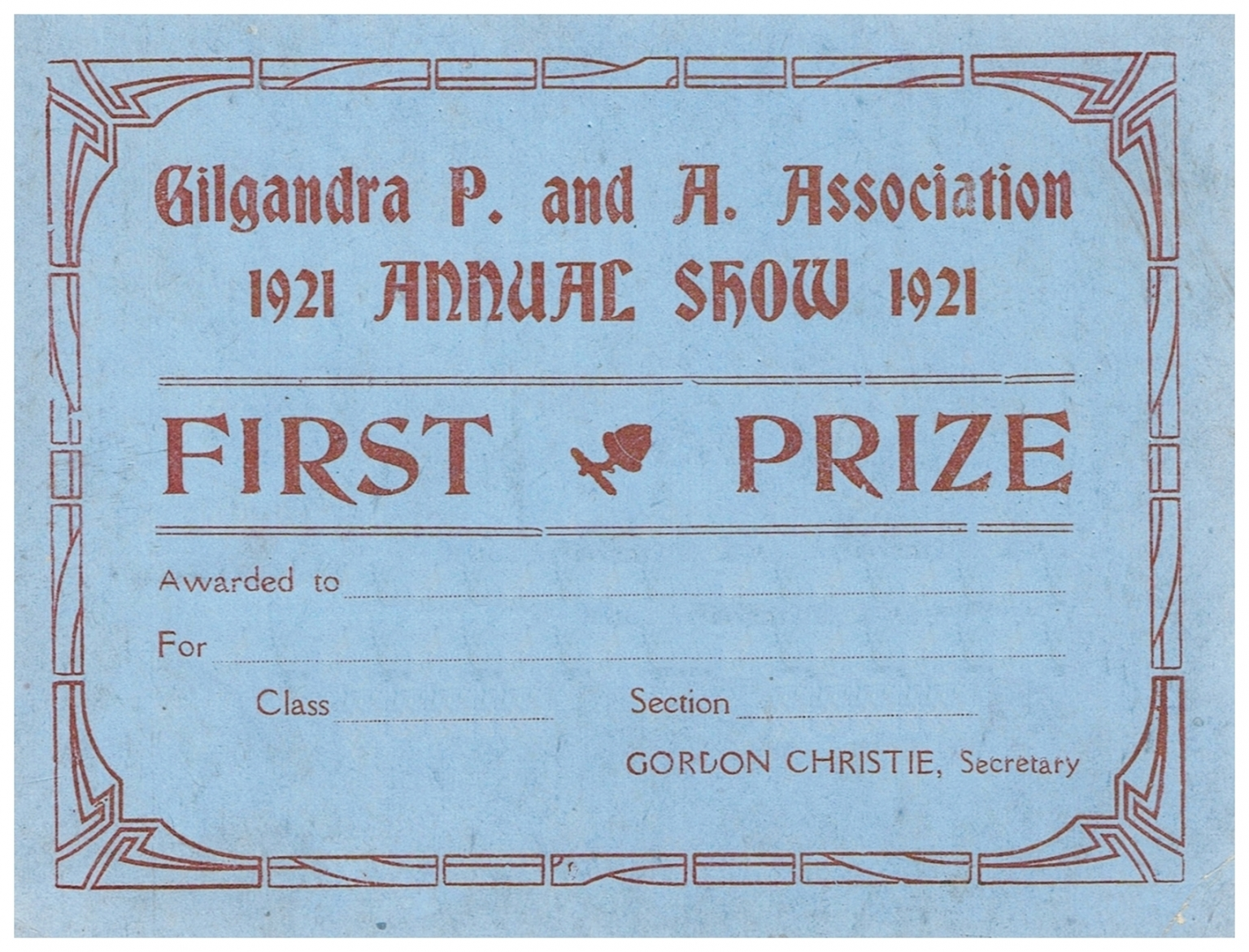 1921 First Prize Card
