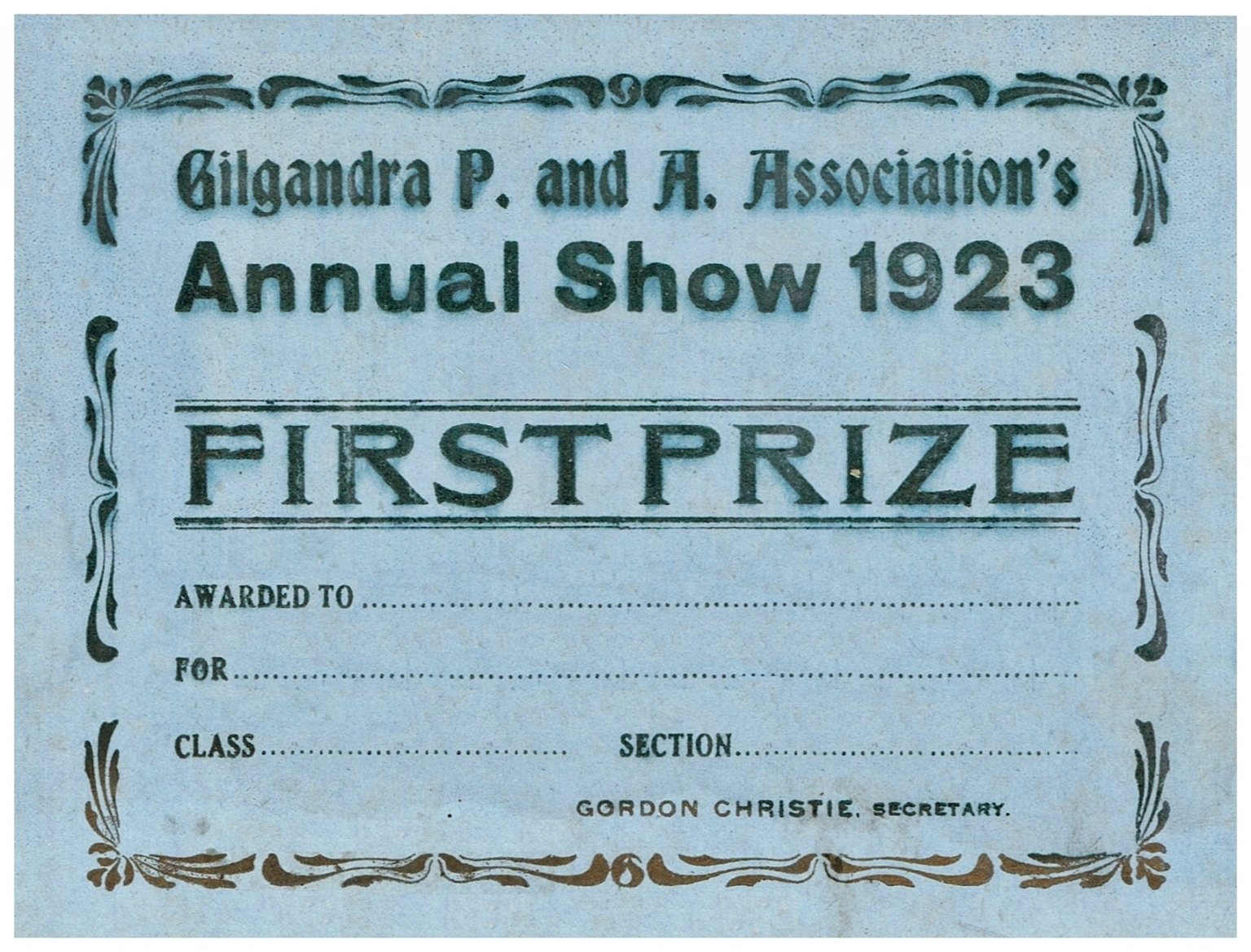 1923 First Prize Card