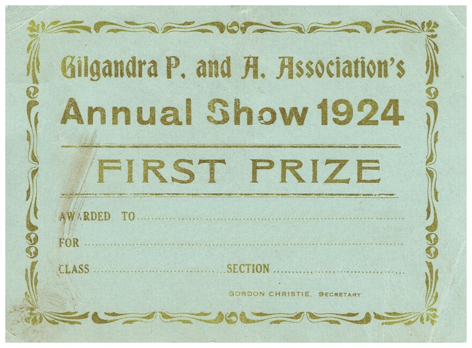 1924 First Prize Card