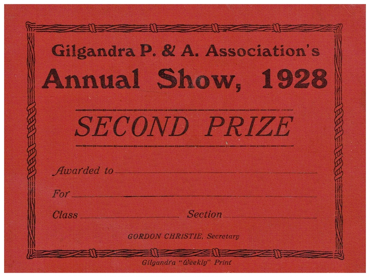 1928 Second Prize Card