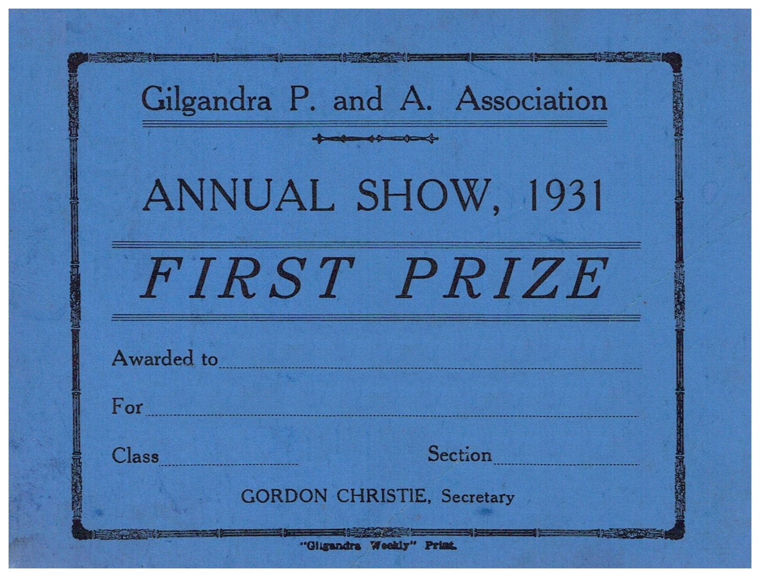 1931 First Prize Card