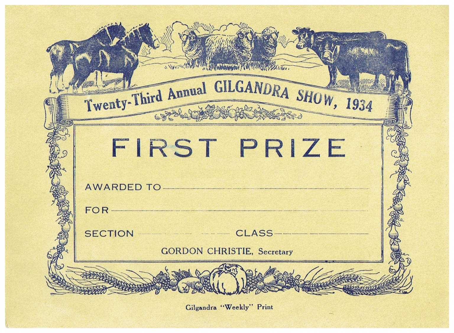 1934 First Prize Card