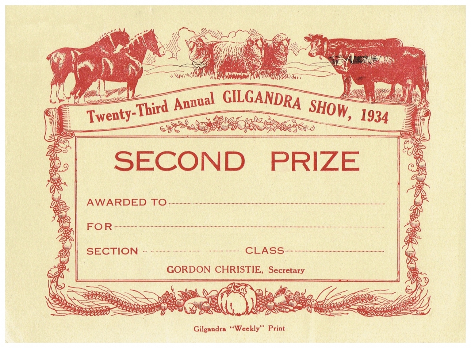 1934 Second Prize Card