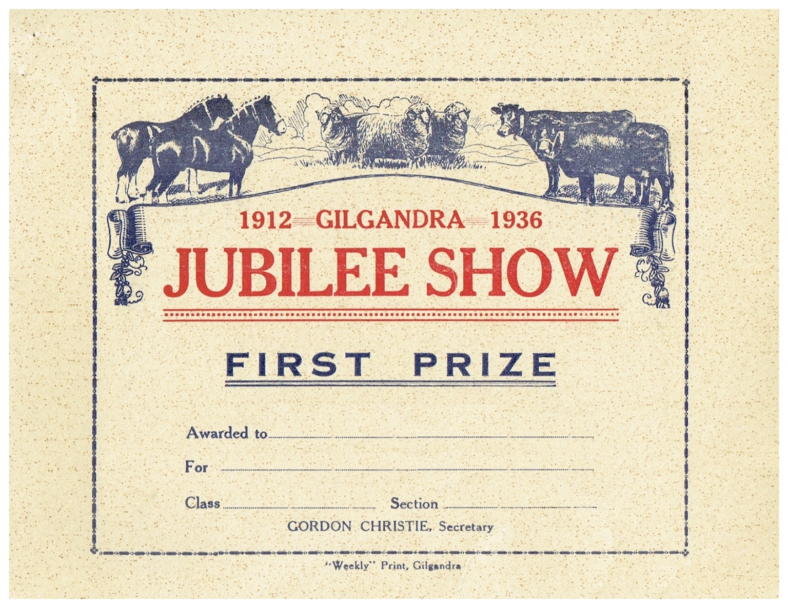 1936 First Prize Card