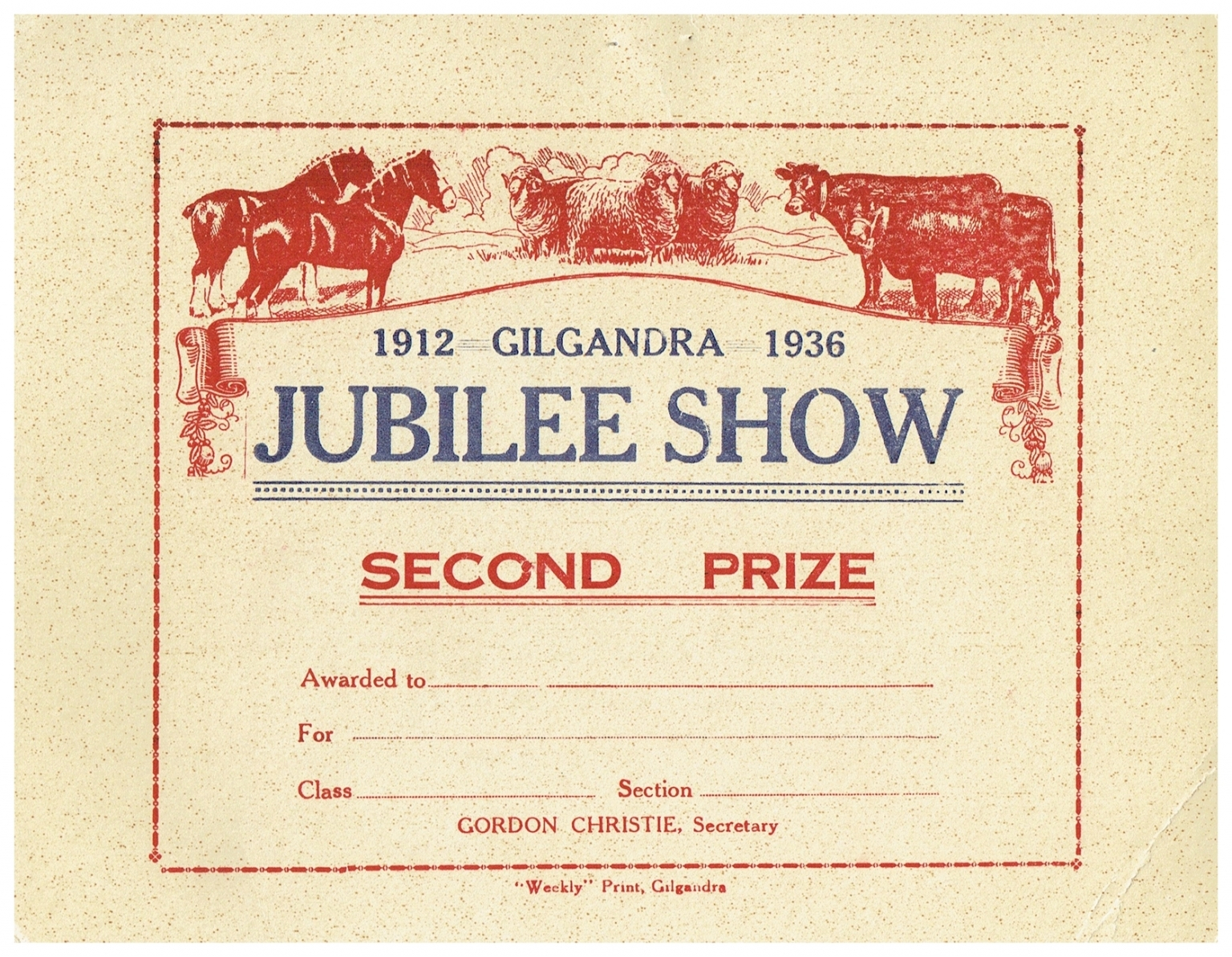 1936 Second Prize Card