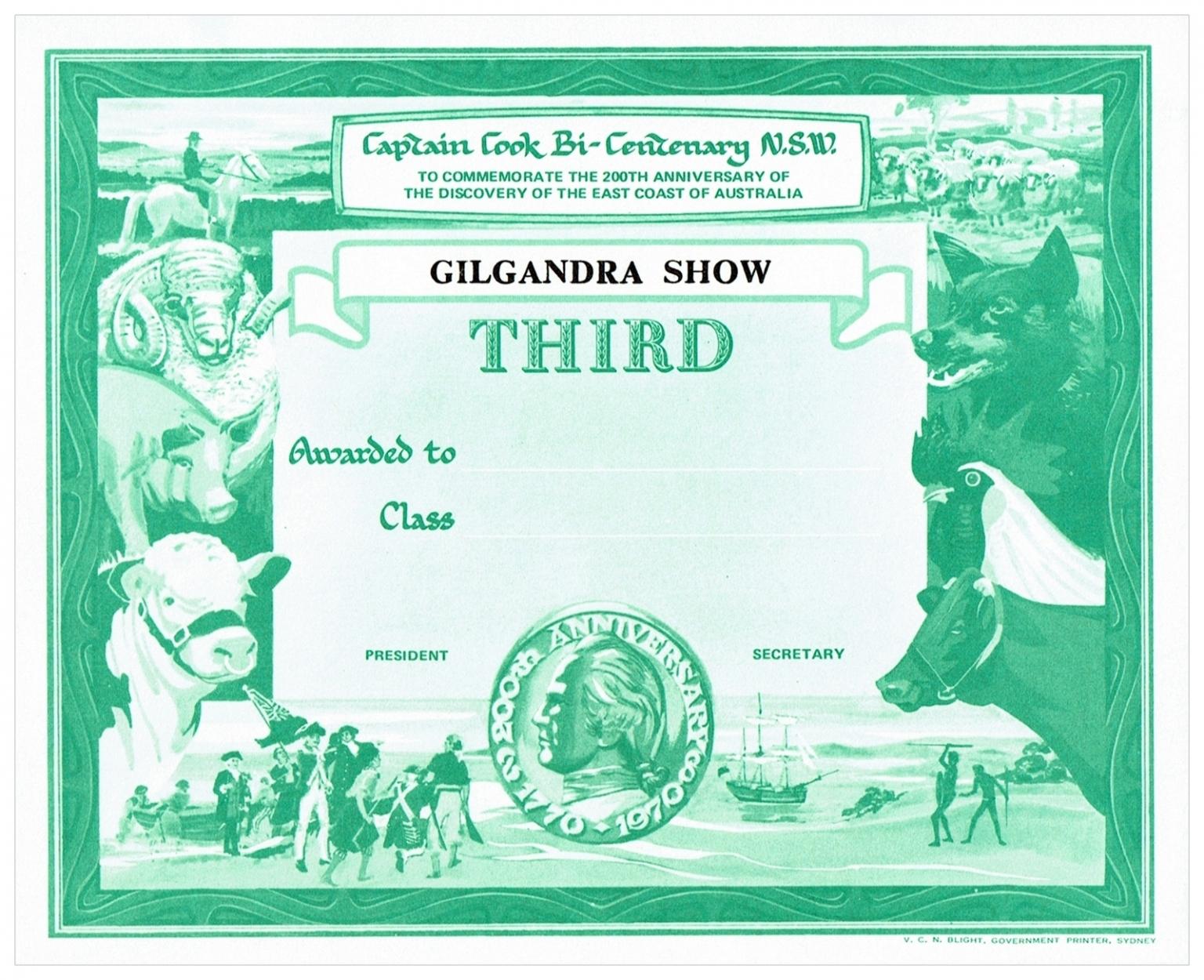 1970 Third Prize Card