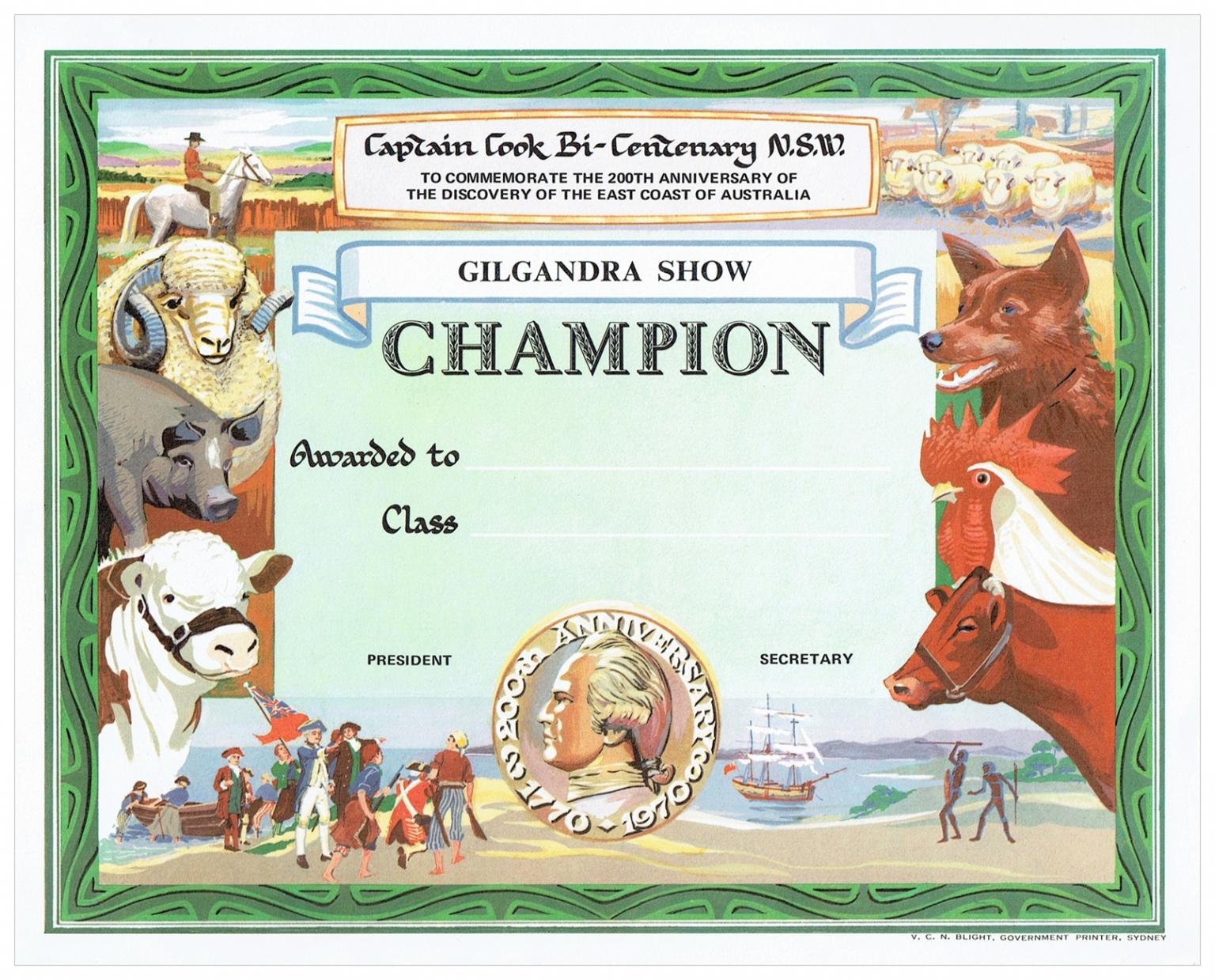 1970 Champion Award Card