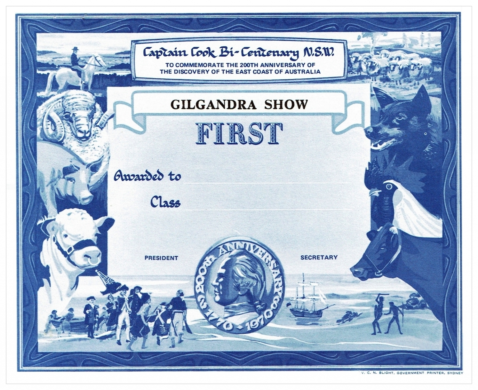 1970 First Prize Card