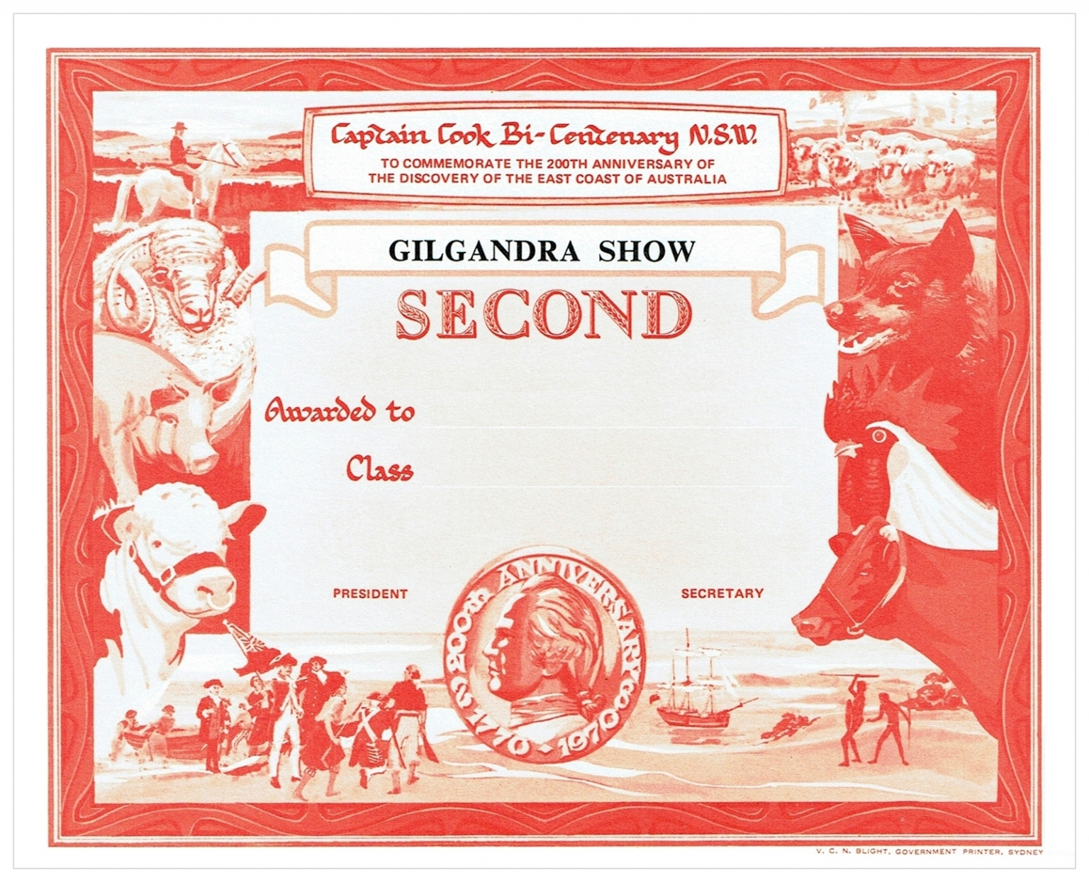 1970 Second Prize Card