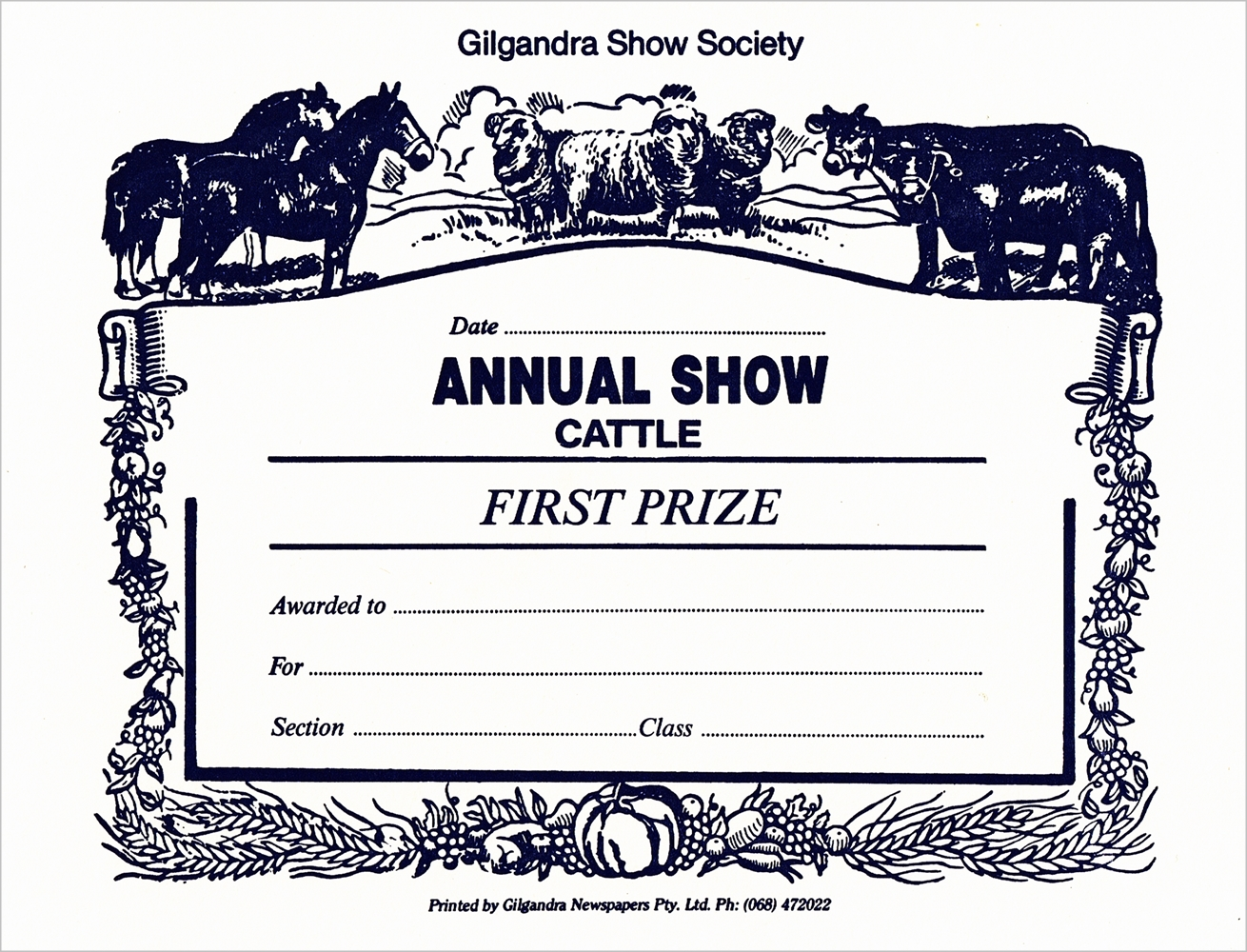 1996 Cattle First Card