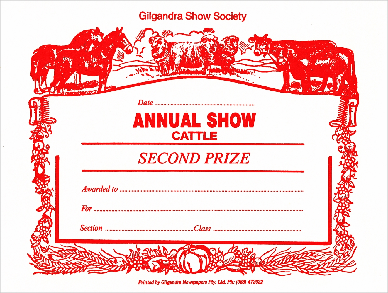 1996 Cattle Second Card